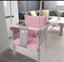 Baby Swing Chair, Swing Seat, Swing set, Adjustable Wooden 4 Colours Cushion