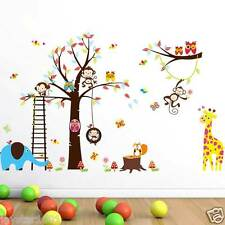 Kids Wall Stickers Woodland Safari Animals Owls,Monkey,Squirrel,Giraffe&Elephant