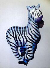 "Large 2.75"" Zebra Pin Brooch Vintage Fashion Jewelry Animal Black White Stripes"