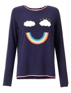Boden Navy Blue Penny Rainbow Jumper Size Medium UK 12 -14 Happy M
