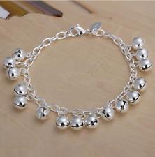 Womens 925 Sterling Silver Bells Pendant Rolo Link Chain Fashion Bracelet #B418