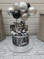 BALLOON CAKE TOPPER SILVER CONFETTI BRIDE BIRTHDAY WEDDING ENGAGED MINI GARLAND