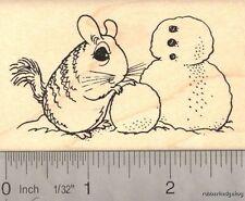 Chinchilla Snowman Rubber Stamp J15209 WM