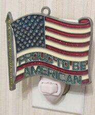 PROUD TO BE AMERICAN FLAG NIGHTLIGHT (PATRIOTIC JULY 4TH US SUNCATCHER LIGHT)