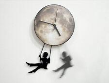 Boy Swinging on the Full Moon - Pendulum Wall Clock