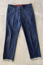 Kiton Napoli Mens Blue Cotton Blend Button Fly Casual Pants Chino Size EU50 US34