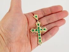 "18k 3.36 Carat Colombian Emerald VS1 F Diamond Cross 12.9 Grams 3"" 76mm"