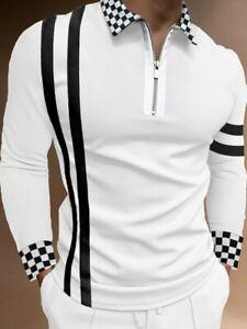 Polo Shirt Men Zipper Collar Long Sleeve Black White Contrast Zip Golf Tee Shirt