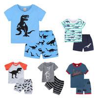 2PCS Toddler Kids Baby Boys Cartoon Print Blouse Tops Shorts Pants Outfits Set