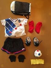 New American Girl USA Soccer Set Top,shorts,socks,shoes,kneepads,Ball, Bag,towel