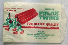 Vtg Holbrook Polar Twins Water Ice Popsicle NOS Unused Wrapper Bag w/ Elves