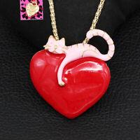 Red Enamel Love Heart Cute Cat Kitten Pendant Betsey Johnson Necklace/Brooch Pin