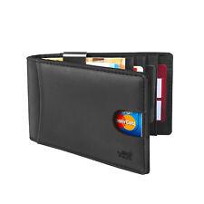Herren Kreditkartenetui Portmonee Leder mit Geldklammer RFID Schutz Schwarz