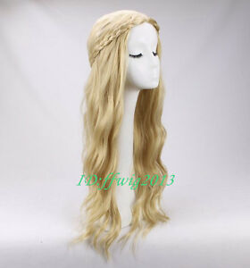 Maleficent Princess Aurora Wig Long Wavy Blonde Braid Cosplay Wig +a wig cap