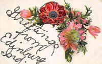 A81/ Edinburg Indiana In Postcard c1910 Glitter Greetings Flowers
