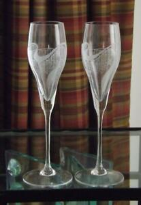 """2 Spiegelau Champagne Flutes Frosted Abstract 9 1/2"""" Tall Multiple Quantities"""