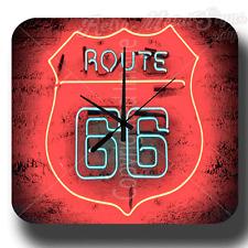 Historic route 66 vintage rétro en métal étain signe horloge murale