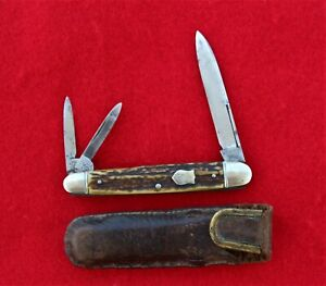 Vintage H Boker & Co's Cutlery Germany Stag Split back Whittler Pen Knife