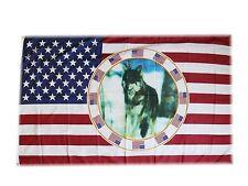 Flagge Fahne USA + Wolf 90x150 cm Ösen Sturmflagge Country Kraft Tier Deko