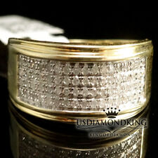 MEN'S NEW 9MM 10K 100% REAL GOLD GENUINE PAVE DIAMOND WEDDING RING BAND 1/3CT
