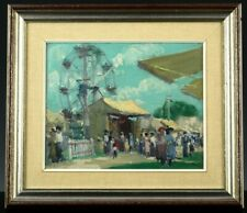 RARE c1920 FREDERICK K COWLEY AMERICAN PLAYWRIGHT CIRCUS LANDSCAPE OIL PAINTING