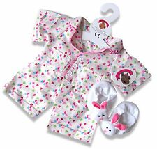 More details for teddy clothes fits build a bear teddies smartie pyjamas pj's and bunny slippers
