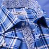 Blue Flannel Spread Collar With Italian Foral Casual Dress Shirt Blue Top B2B