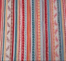 Chelsea Christine Graf Quilting Treasures BTY Floral Stripe Teal Coral Red Gold