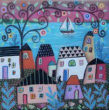 Sail Away 12 x 12 ORIGINAL CANVAS PAINTING Folk ART SEA ABSTRACT Karla Gerard