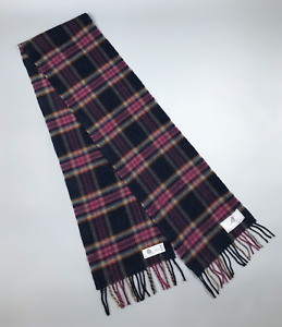 Bronte By Abraham Moon Pure Merino Wool Plaid Scarf VGC Made In British Isles
