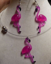 Chocker Necklace Pink Flamingo Handcrafted Tacky Fun Party Earrings Set Usa Made