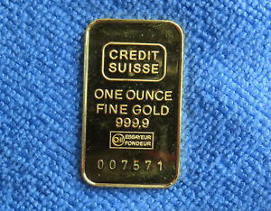 Credit Suisse One Ounce .9999 Fine Gold Bar Serial No 007571 in Plastic Capsule