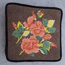 Needlepoint Vtg Floral Vivid Colors Decor Pillow Black Velvet w Piping Euc