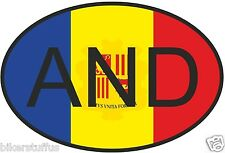 AND ANDORRA COUNTRY CODE OVAL WITH FLAG STICKER
