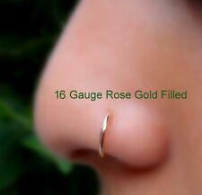 Nose Ring Hoop Helix Tragus Cartilage Earring 14K Rose Gold Filled 16g 7mm