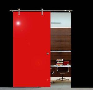Soft Stop Glasschiebetür Glastür Edelstahl rot 900x2050mm BV900RA