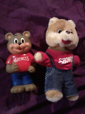 VINTAGE SHONEY'S RESTAURANT BEAR PLUSH AND PIGGY BANK MASCOT VINYL FIGURE AD WOW
