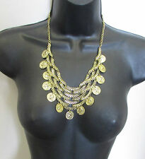 Gold Coin Necklace Boho Festival Coin Bib Chain Layered Tassel Baroque Vtg 2328