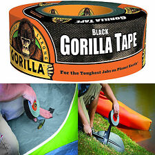 "Gorilla Duct Tape Black Repair Heavy Duty Double Thick Outdoor 1.88"" x 12 yd"