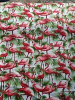 """1m 100% Cotton Fabric red  Flamingos on green   45"""""""
