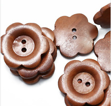 2 30mm Wooden Flower Buttons 2 Hole Large  Sewing Craft UK SELLER Knitting