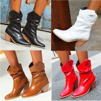 Women Pleated Ankle Boots Round Toe Cuban Mid Heel Oxfords Western Cowboy Winter
