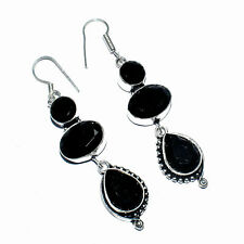 Dominican Black Onyx Gemstone 925 Silver Jewelry Earring - 2.75""