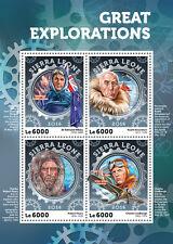 Sierra Leone 2016 MNH Great Explorations Hillary Amundsen Lindbergh 4v MS Stamps
