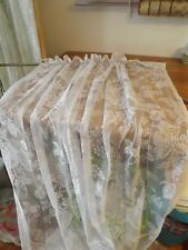 """NEW 56X84""""WHITE LACE PANEL """"SARAH'S GARDEN"""" by WHOLE HOME  SCALLOPED HEM NIP"""
