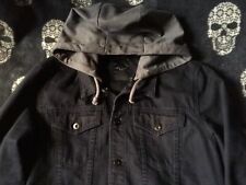 Vintage Distressed Charcoal Black Denim Jacket with Detachable Grey Jersey Hood