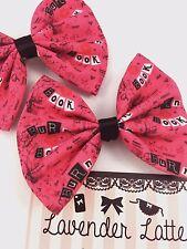 Hot Pink Burn Book Handmade Fabric Hair Bow Mean Girls Hair Clip Accessory