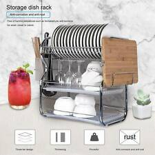 3 Tier Chrome Alloy Dish Drainer Holder Kitchen Cutlery Rack Drip Storage Tools
