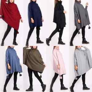 Italian Women Plain Poncho Cowl Neck Batwing Sleeve Ladies Tassel knitted Tunic