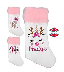 Personalised Christmas Stocking Unicorn Reindeer Rose Gold Handmade Gift Present
